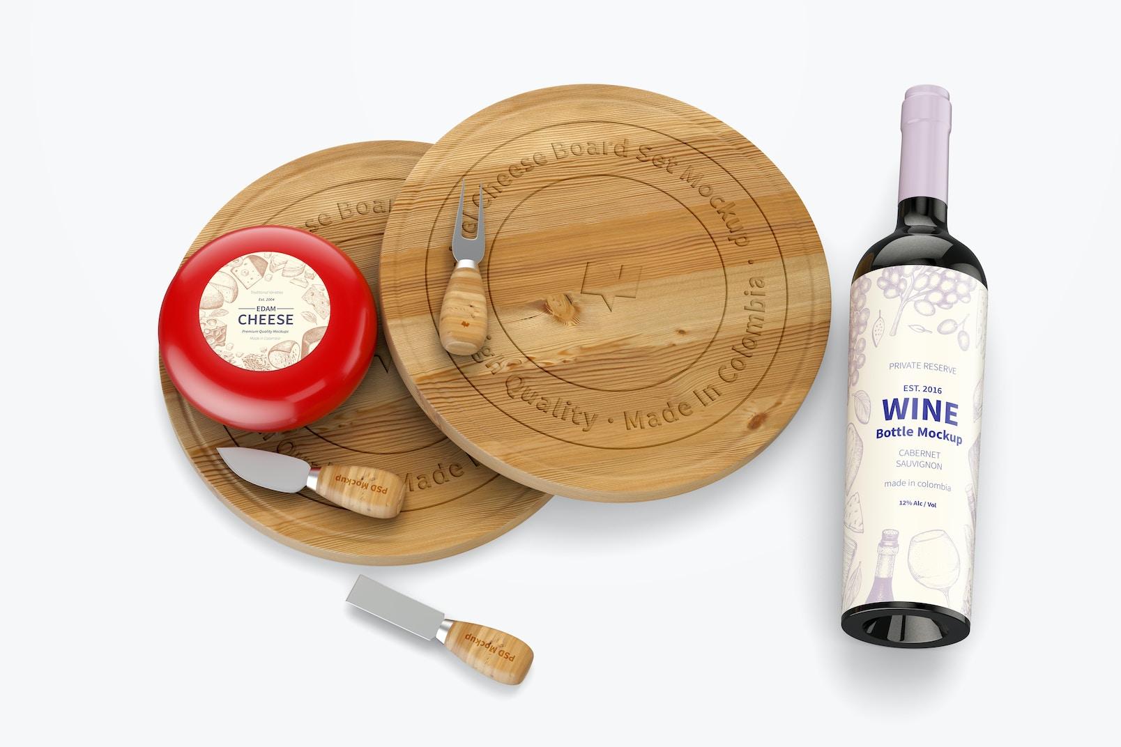 Swivel Cheese Board Set with Wine Bottle Mockup