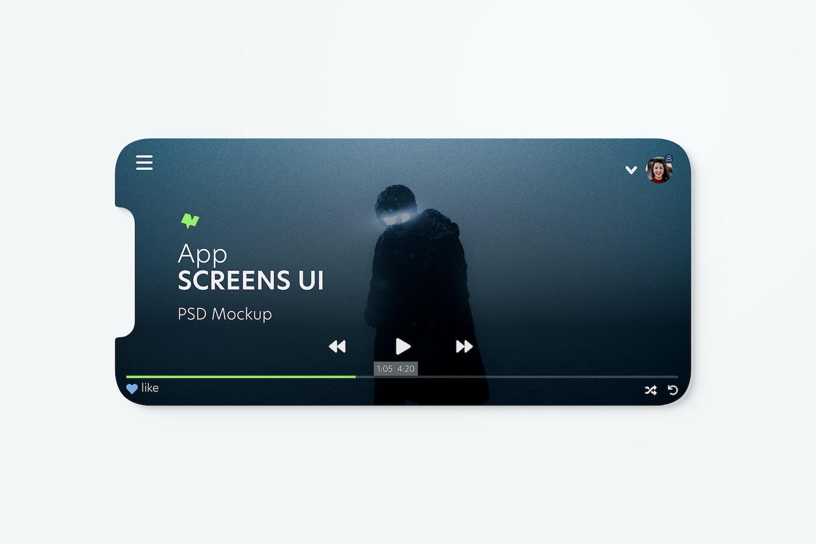 App Screens UI Mockup, Horizontal