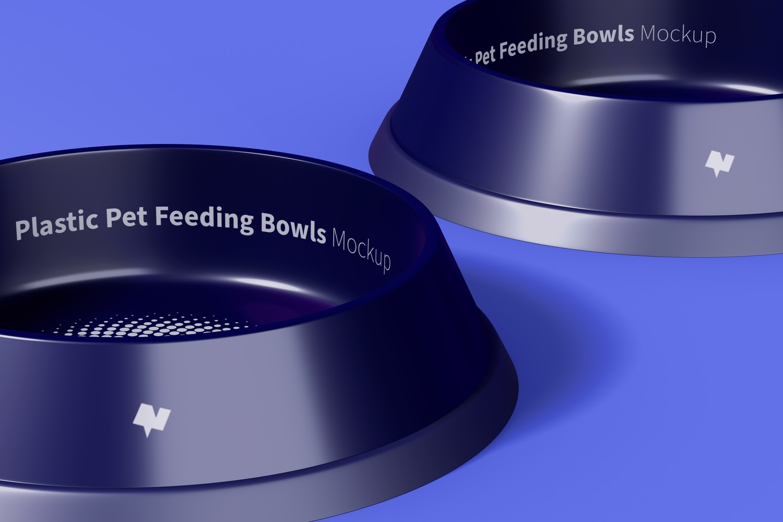 Plastic Pet Feeding Bowls Mockup, Left View