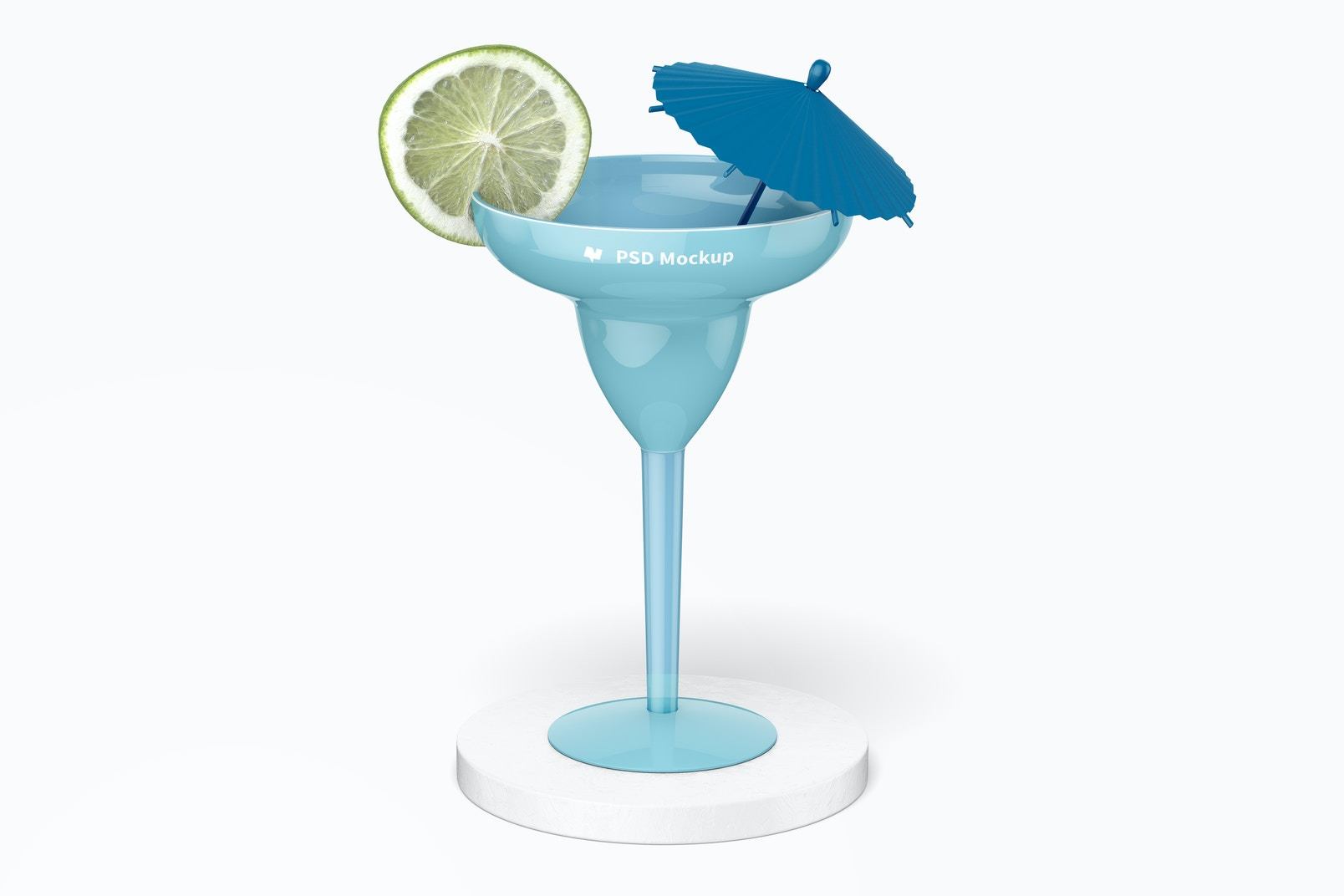 Plastic Margarita Glass Mockup, on Surface