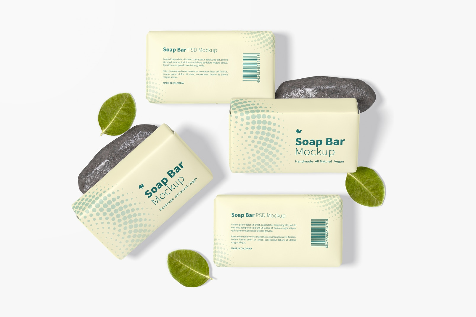 Soap Bars with Paper Package Mockup, Top View
