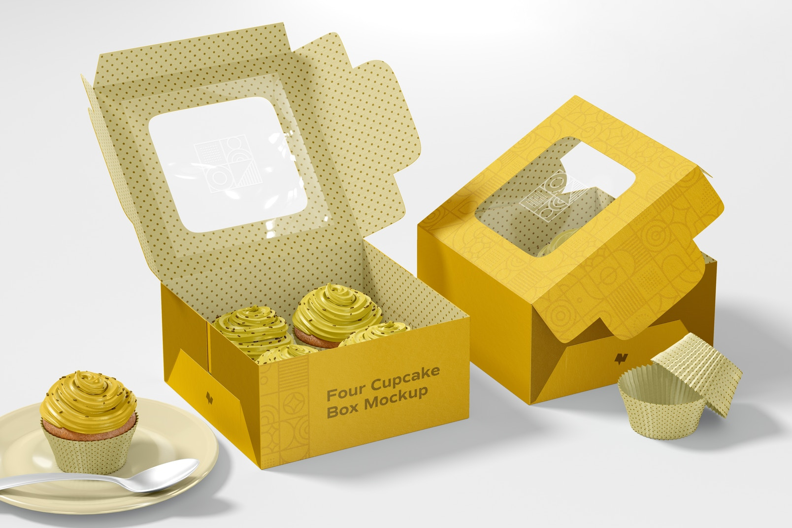 Four Cupcakes Boxes Mockup, Opened