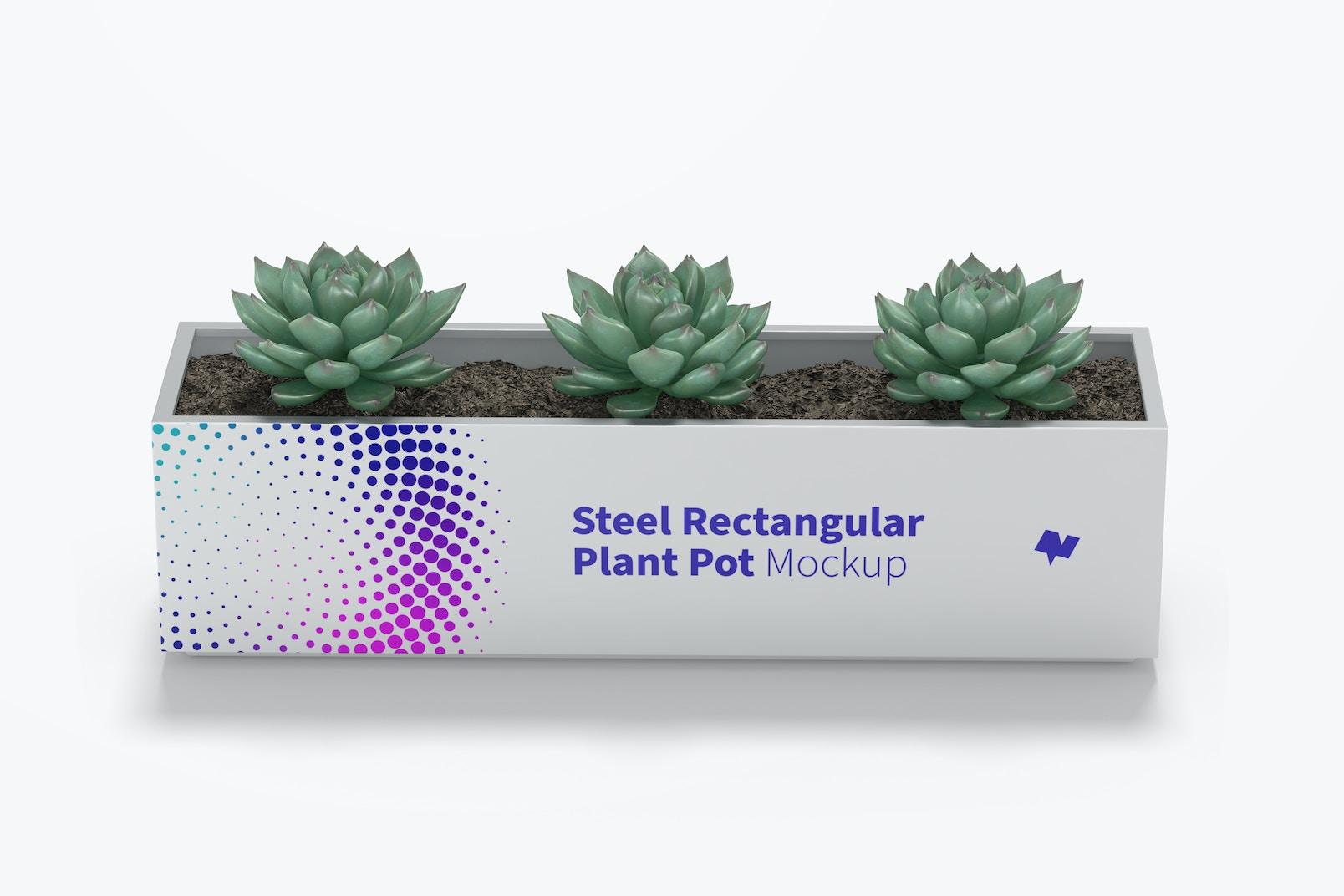 Steel Rectangular Plant Pot Mockup, Front View