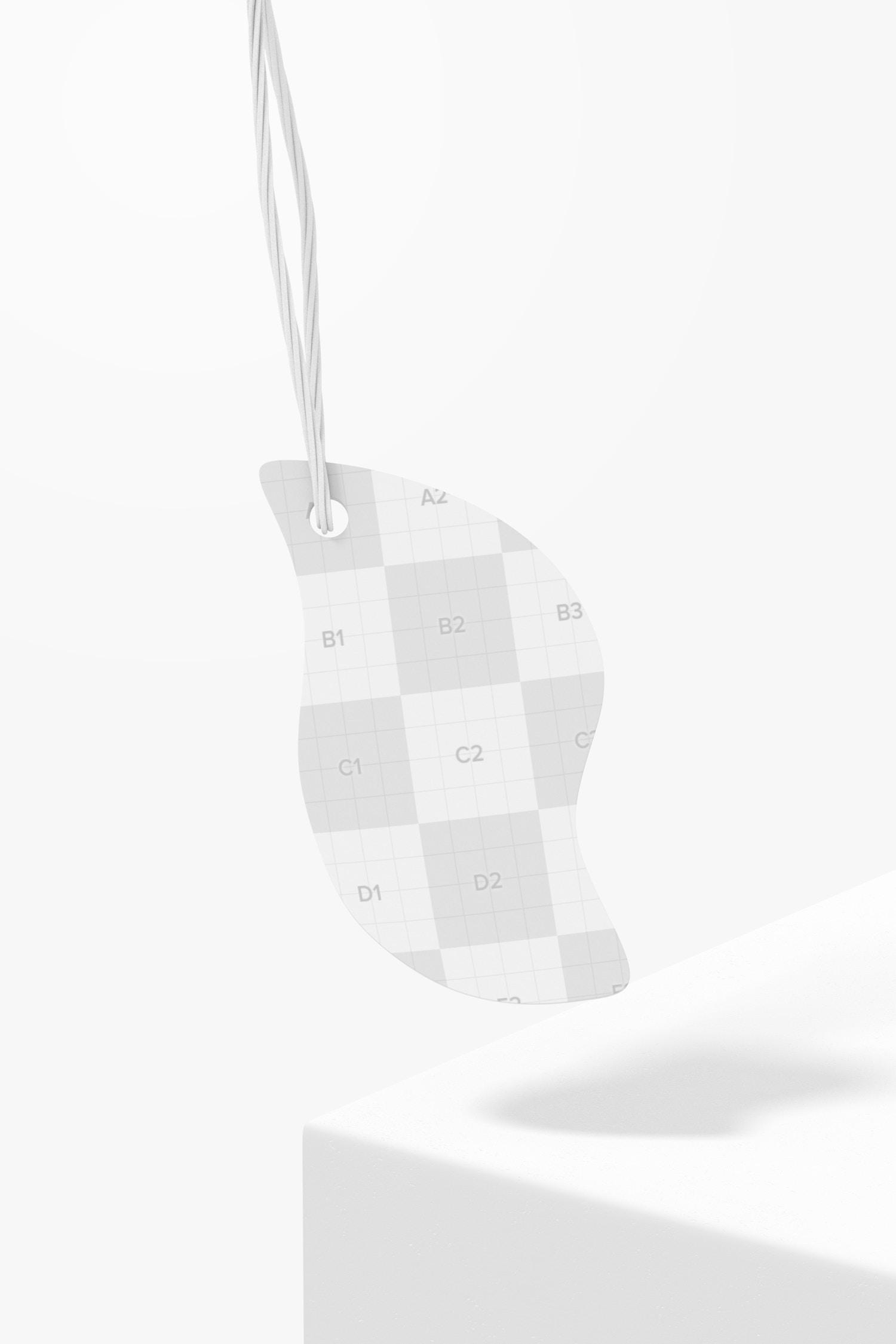Leaf Shaped Cardboard Tag Mockup, Falling