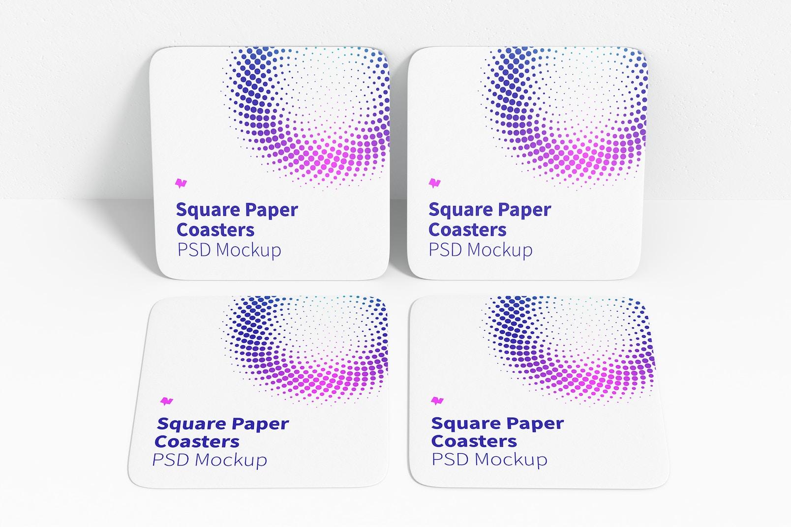 Square Paper Coasters Mockup, Leaned