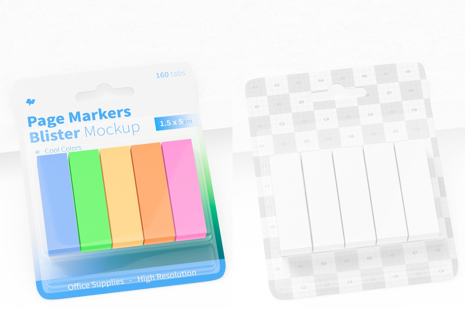 Page Markers Blister Mockup, Leaned