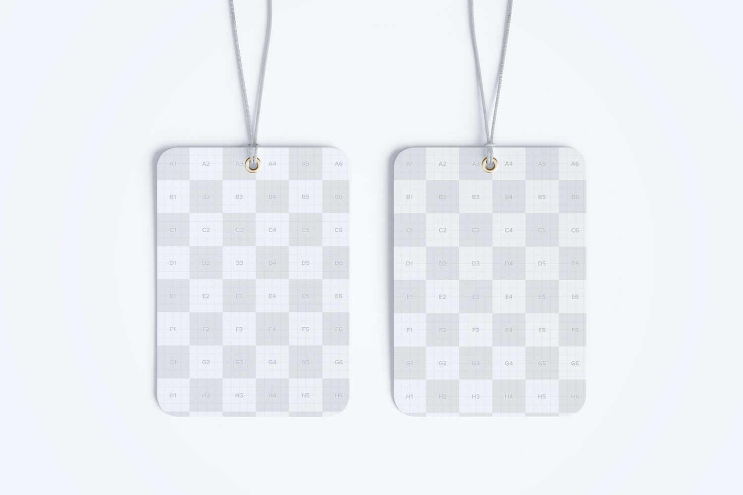 Rounded Hang Tags Mockup with String, Two-sided 02