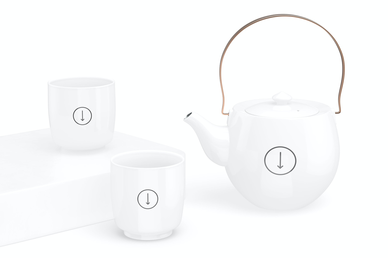 Japanese Ceramic Tea Set Mockup, Front View