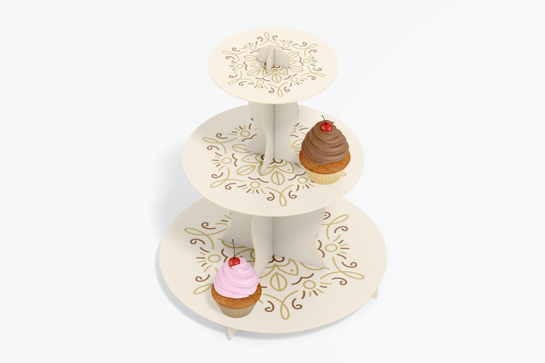3-Tier Cardboard Cupcake Stand Mockup, Top View
