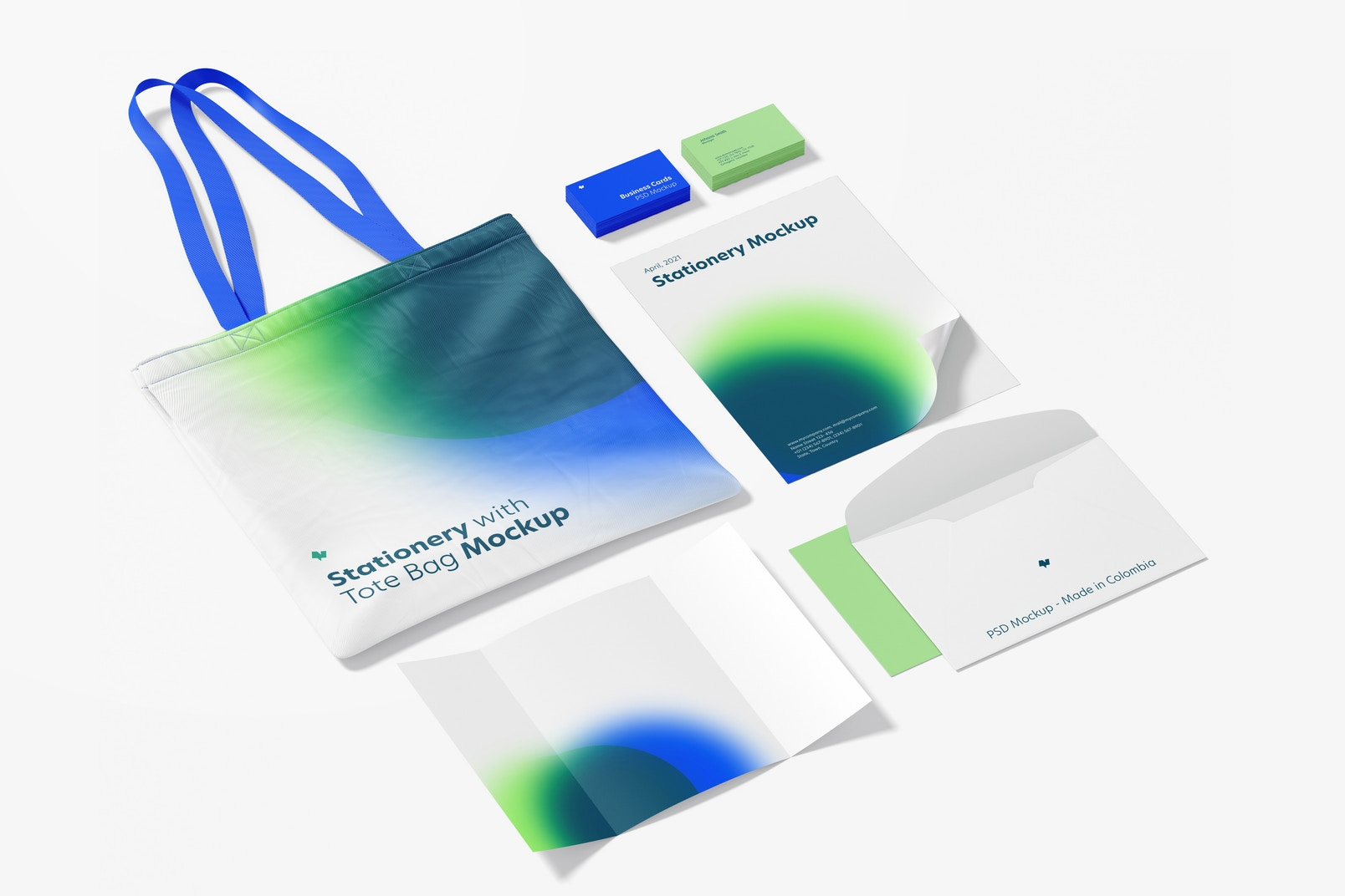 Stationery with Tote Bag Mockup 02