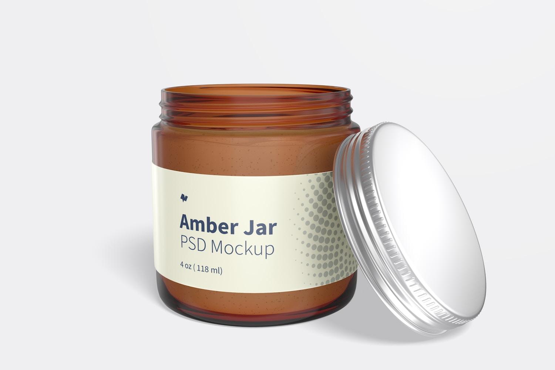 Amber Jar with Metallic Cap Mockup