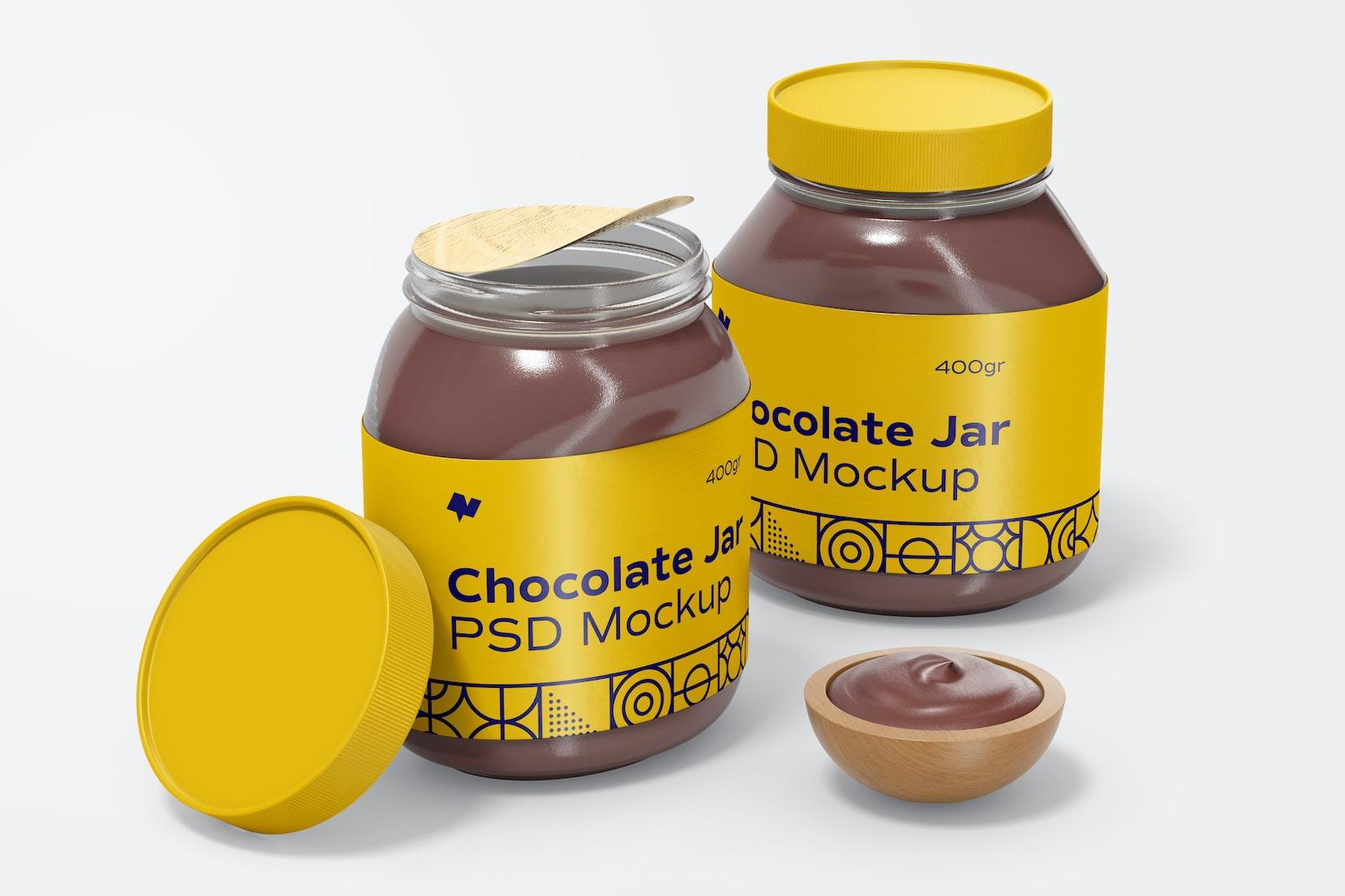 Chocolate Spread Jars Mockup