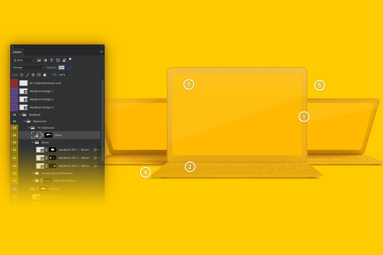Maqueta de MacBook Multicolor, Vista Frontal 03 (6) por Original Mockups en Original Mockups