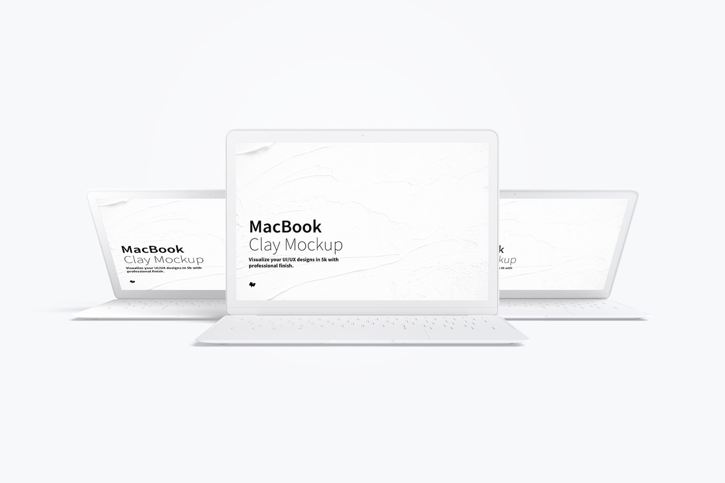 Clay MacBook Mockup, Front View 03