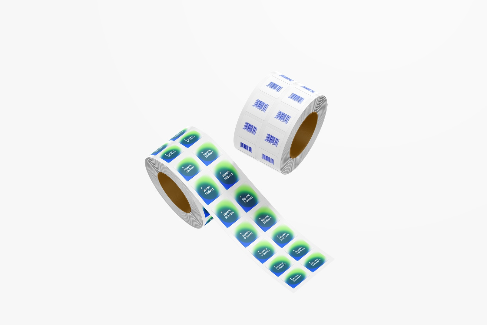 Square Stickers Rolls Mockup, Floating