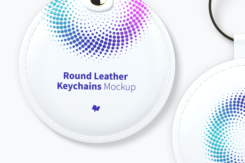 Round Leather Keychains Set Mockup