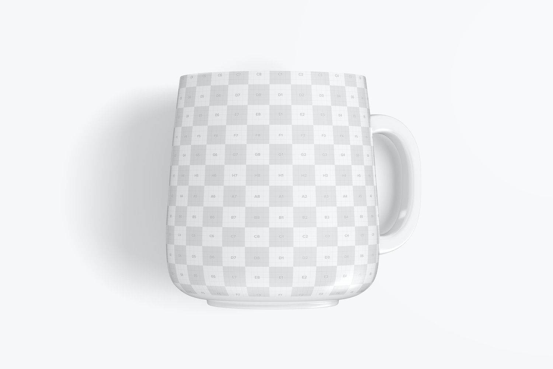 Maqueta de Mug de Cerámica de 12.2 oz, Vista Superior