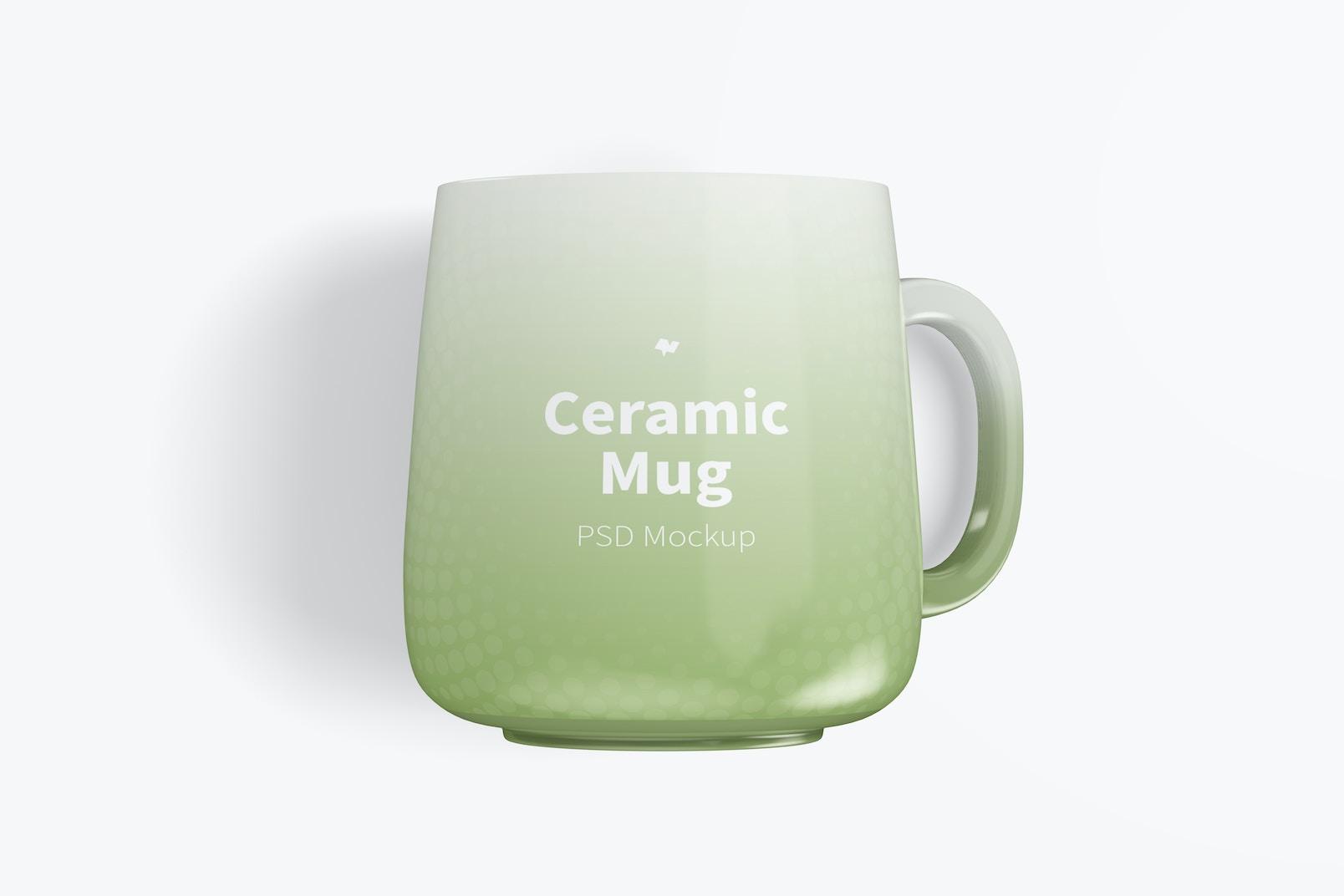 12.2 oz Ceramic Mug Mockup, Top View