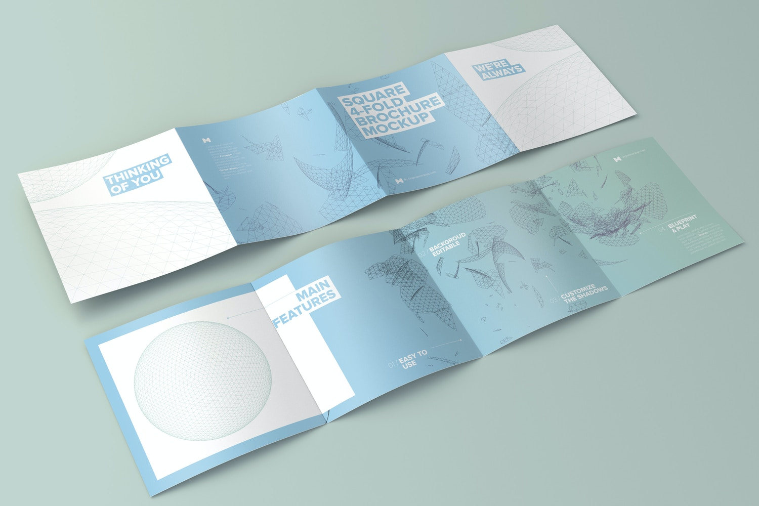 Spread Square 4-Fold Brochure Outside and Inside Mockup 01 - Custom Background