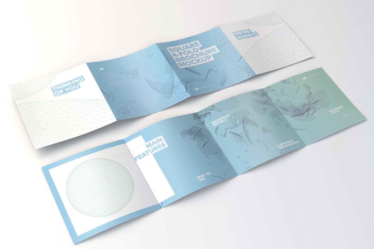 Spread Square 4-Fold Brochure Outside and Inside Mockup 01