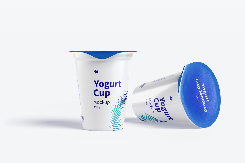 150 g Yogurt Cups Mockup