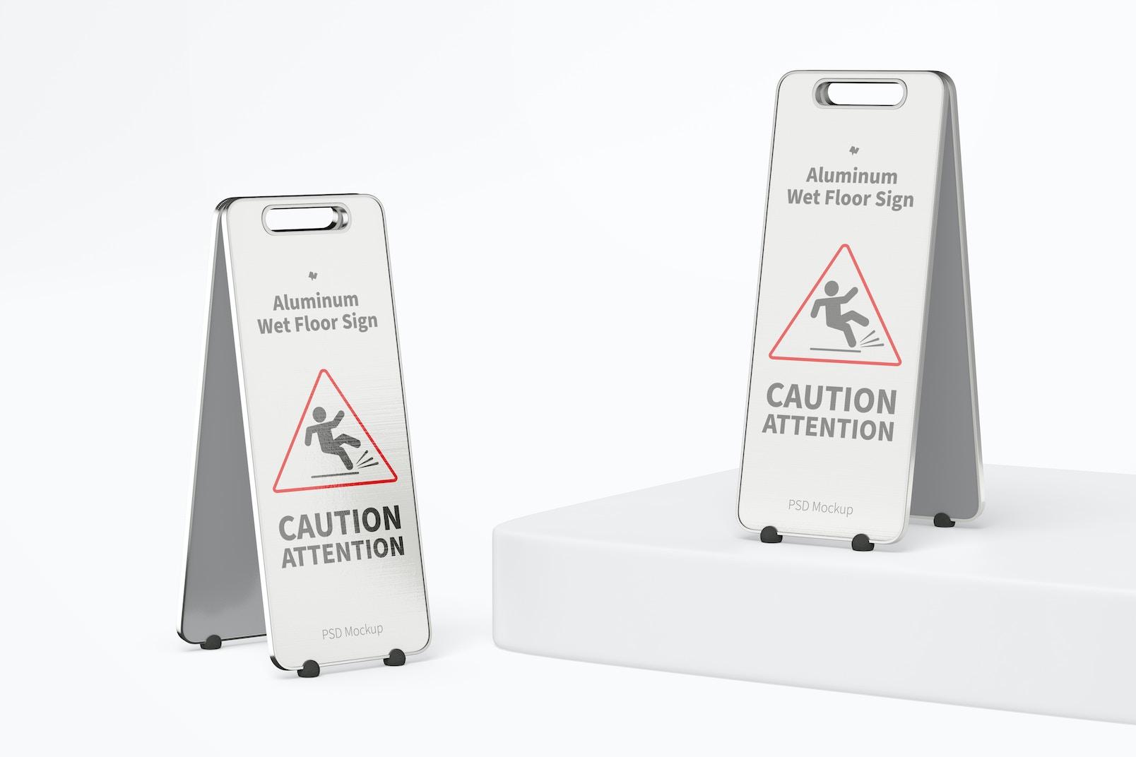 Aluminum Wet Floor Signs Mockup, Perspective 02