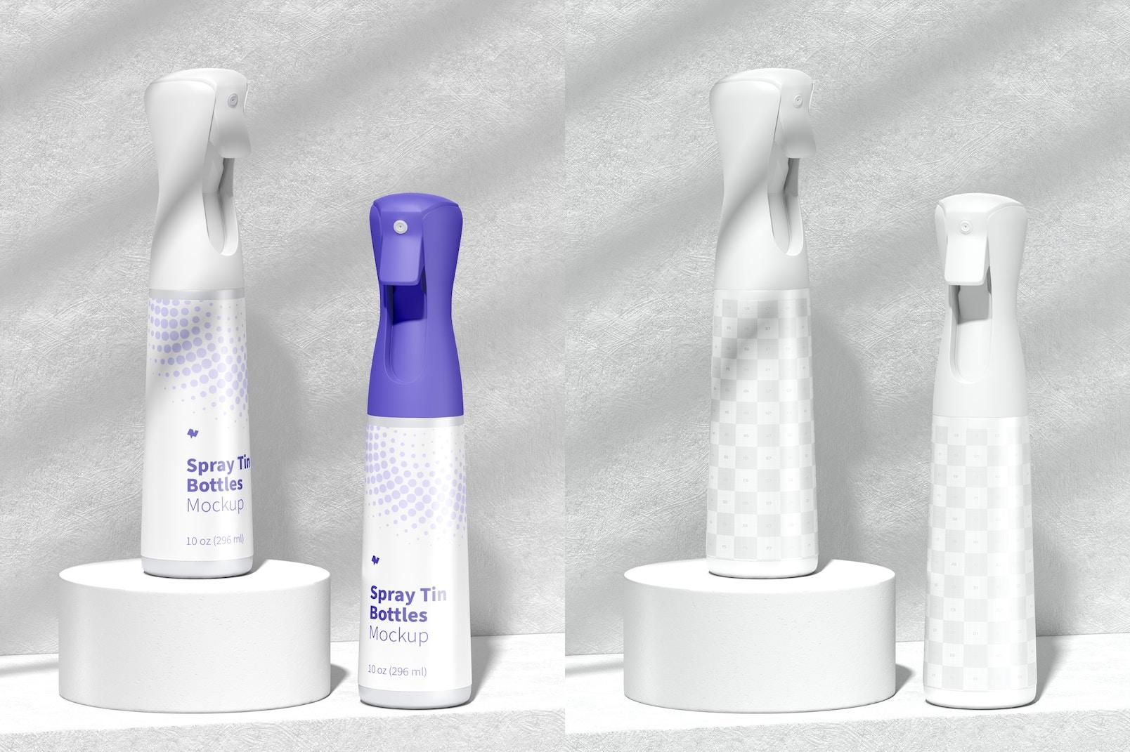 Spray Tin Bottles Mockup, Front View