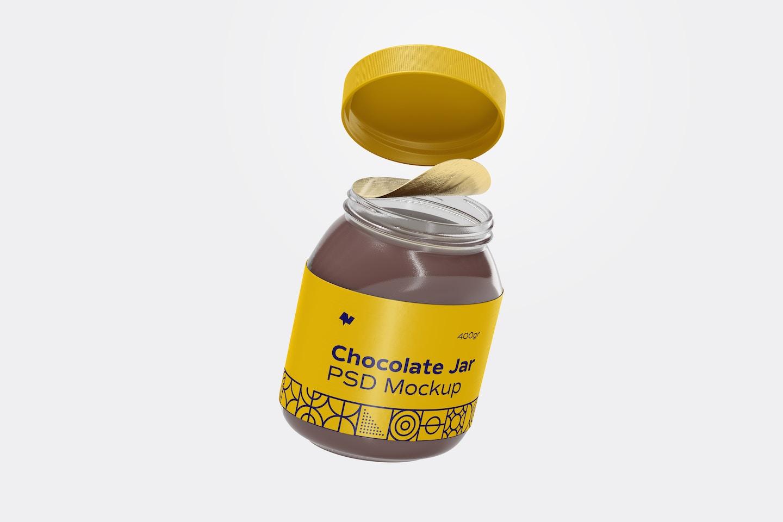 Maqueta de Frasco de Crema de Chocolate, Cayendo