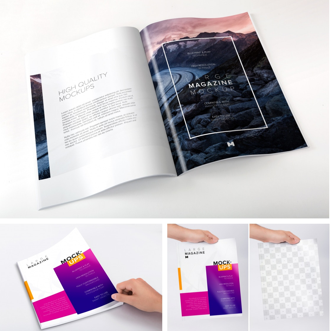Large Magazine Mockups by Original Mockups on Original Mockups