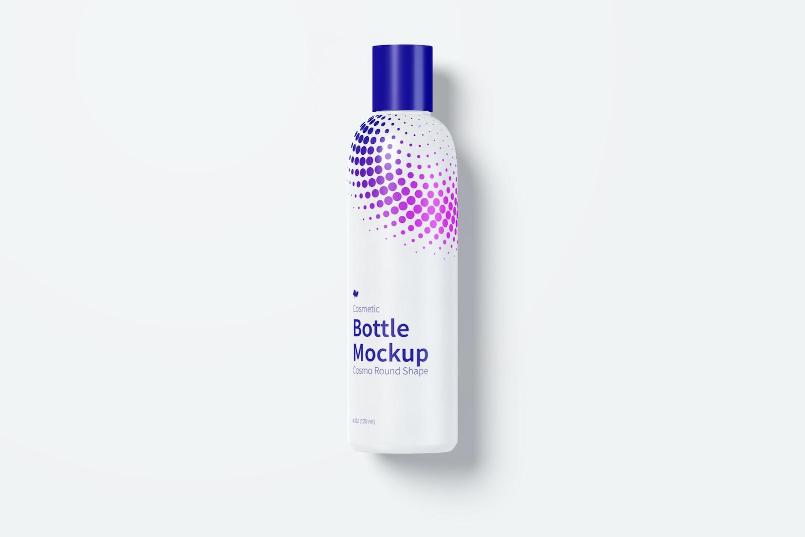 4 oz / 120 ml Cosmo Round Shape Cosmetic Bottle Mockup with Disc Cap in Front View