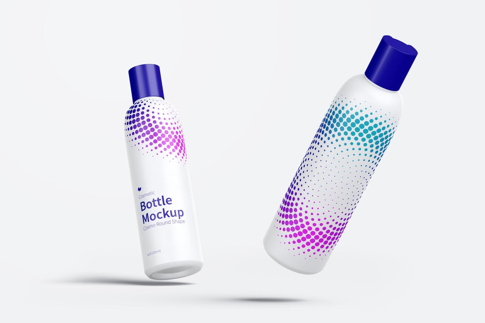 Maqueta de Botella Cosmética Cosmo de 4 oz / 120 ml con Tapa de Disco Cayendo