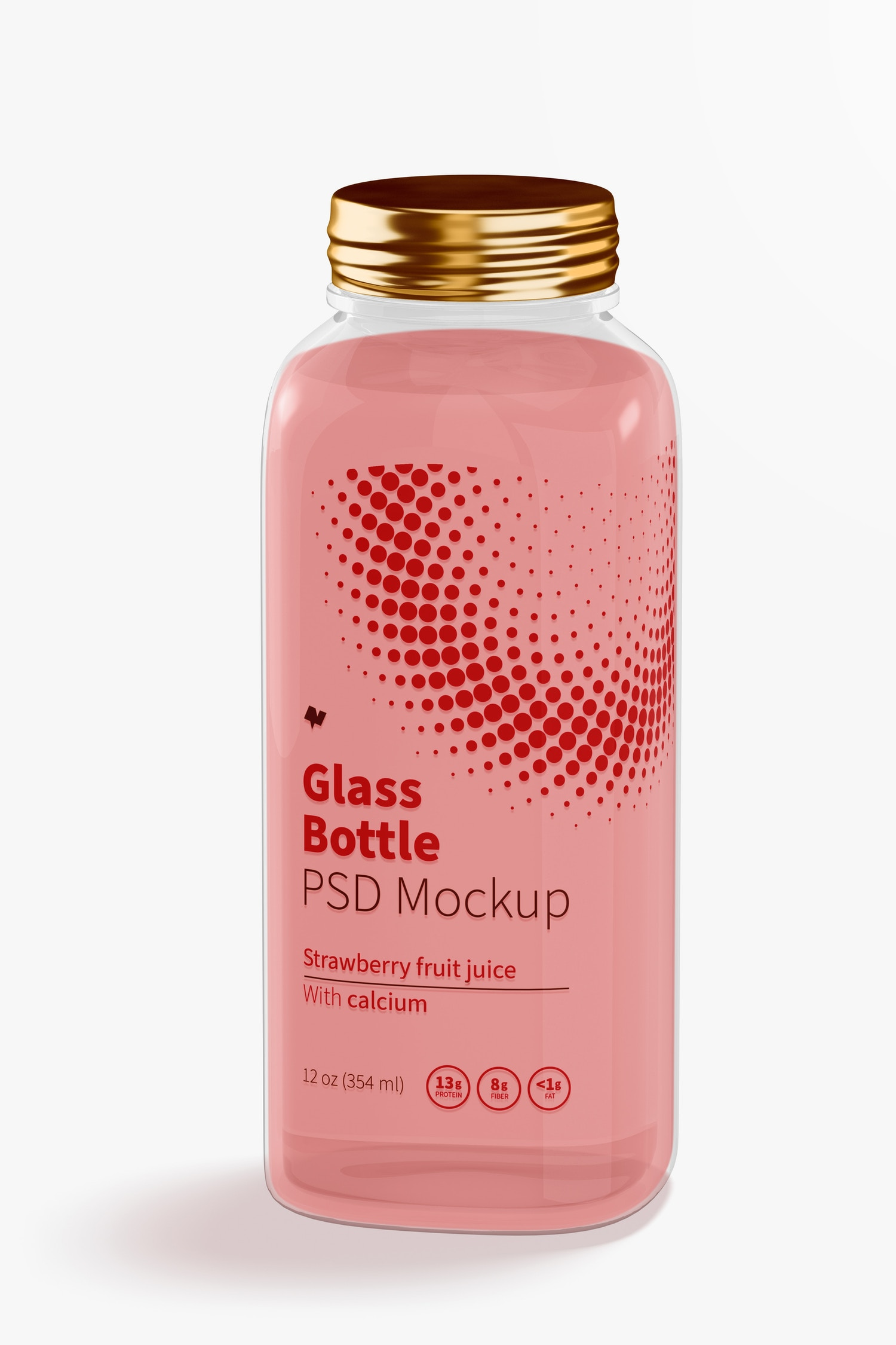 12 oz Glass Bottle Mockup, Front View