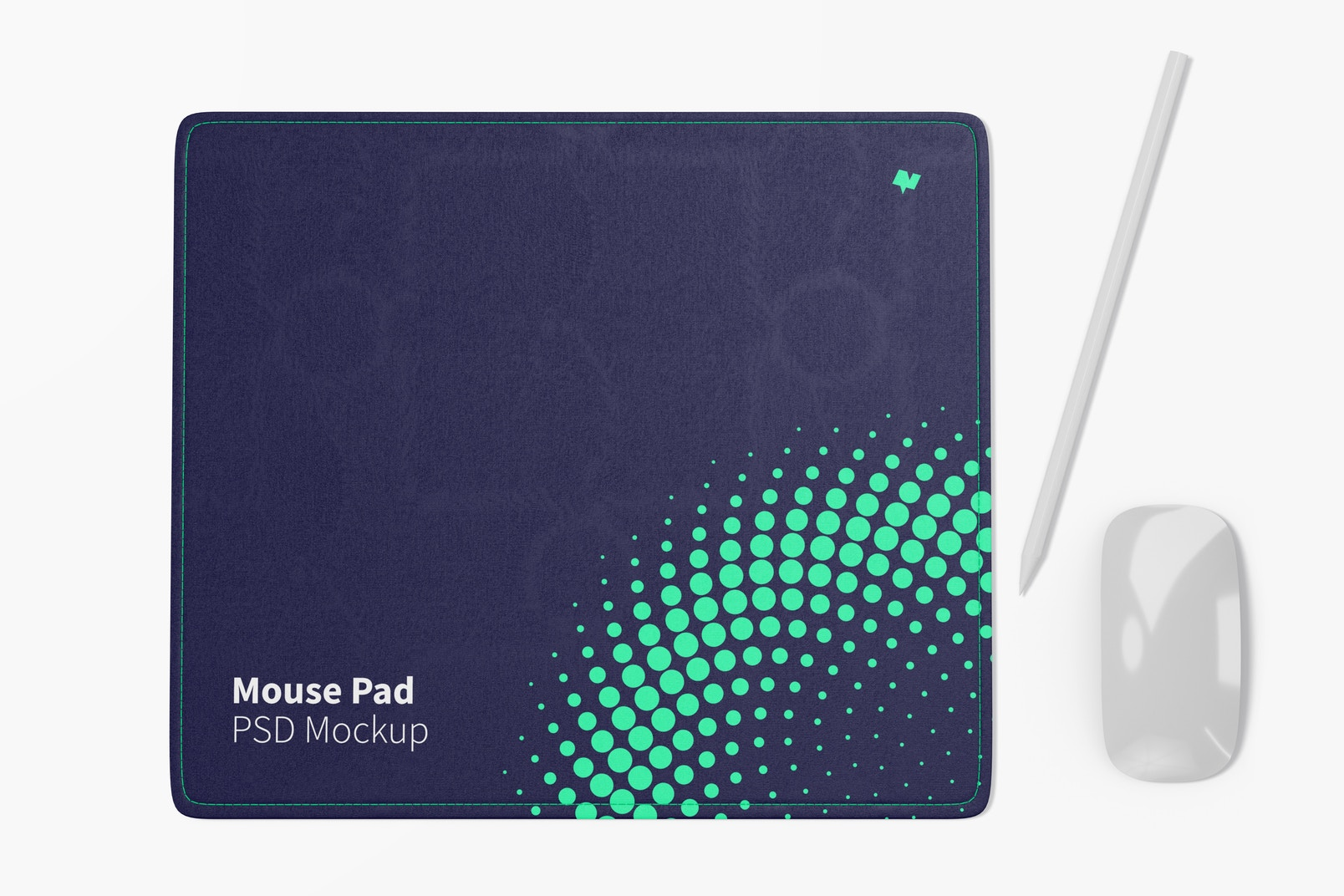 Rectangular Mouse Pad Mockup, Top View