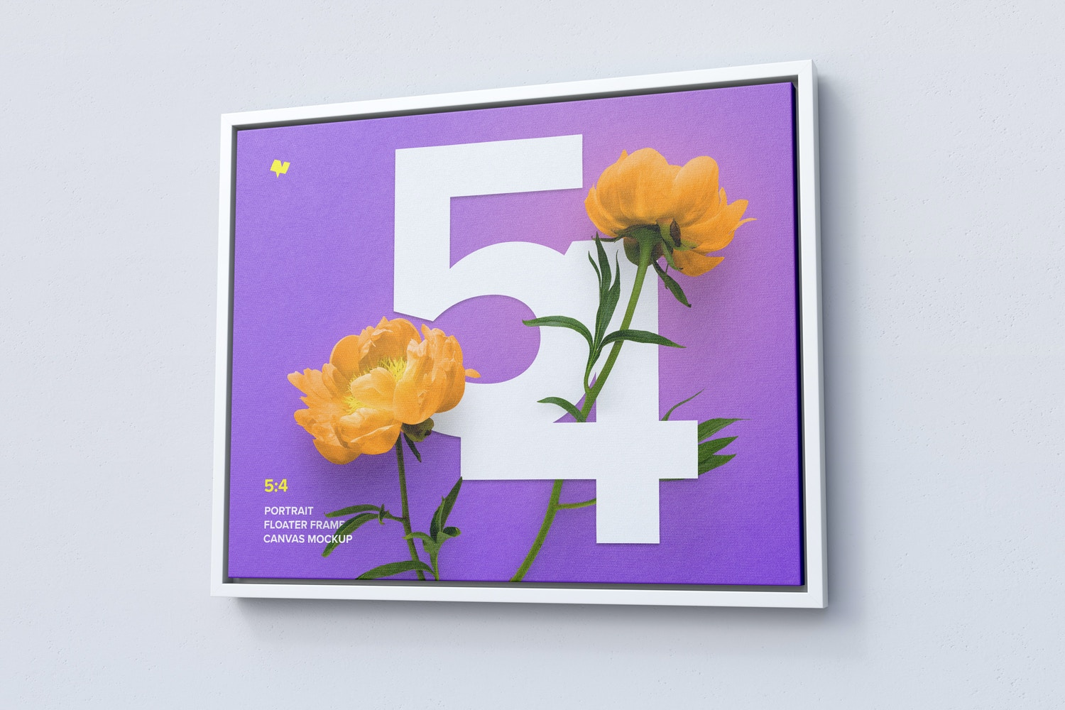 5:4 Landscape Canvas Mockup in Floater Frame, Right View