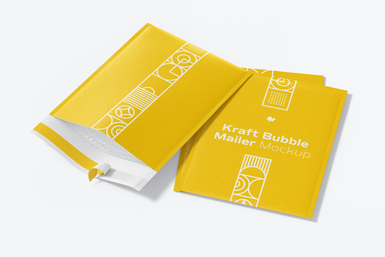 Kraft Bubble Mailers Mockup, Opened and Closed