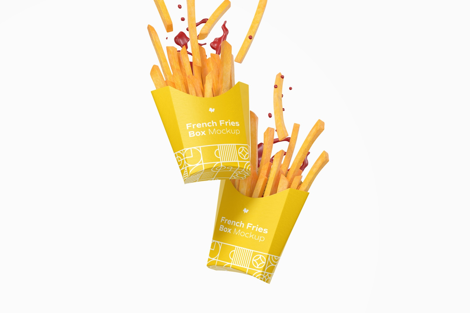 French Fries Box Mockup, Falling