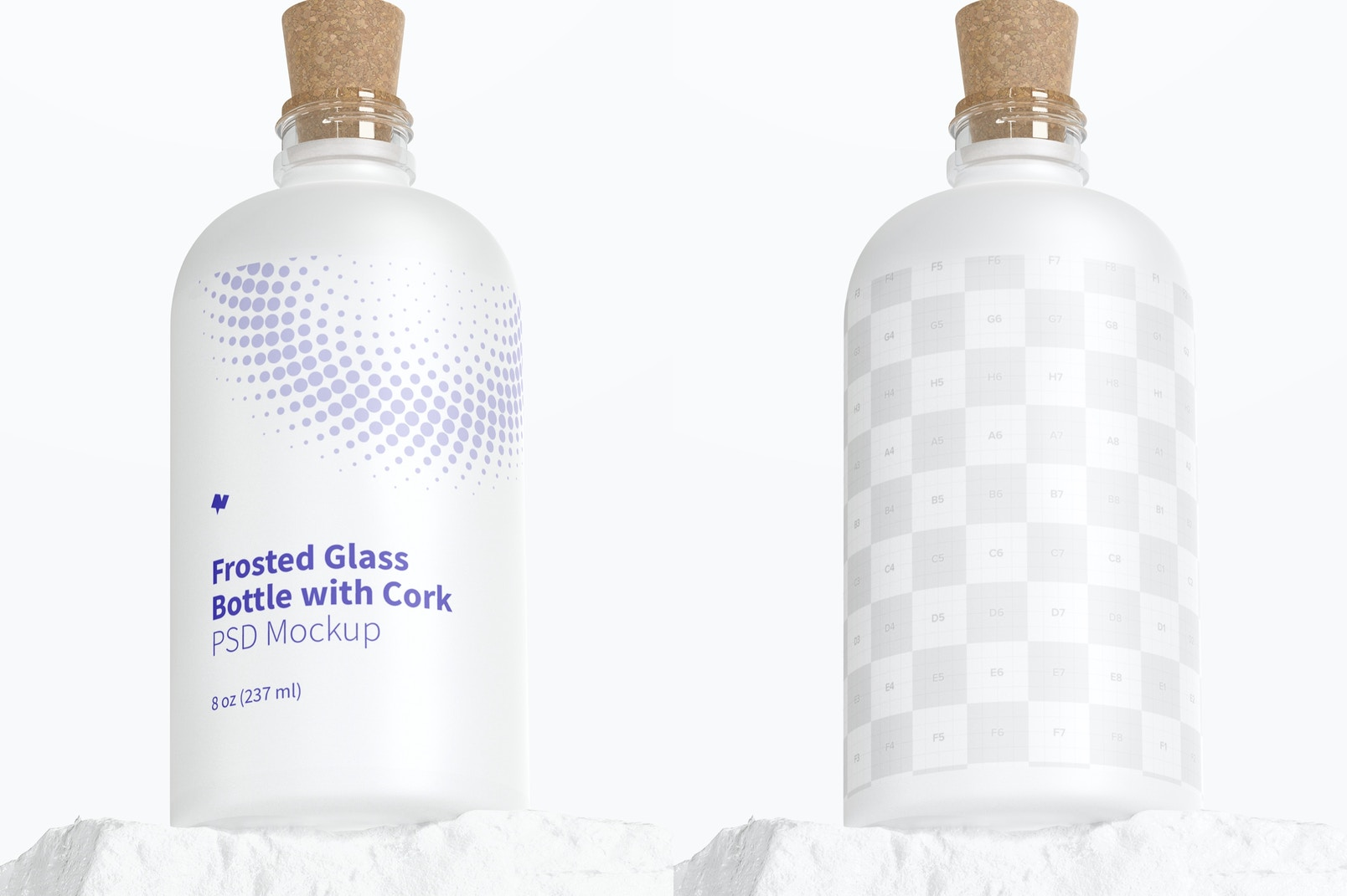 Frosted Glass Bottle with Cork Mockup, Low Angle View