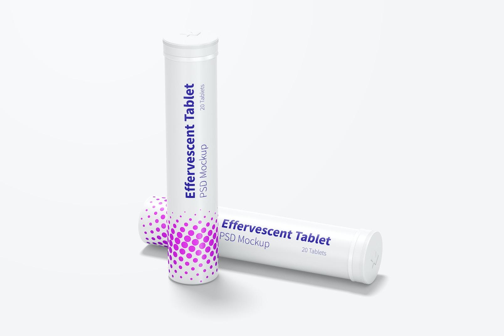 Effervescent Tablet Bottles Mockup, Perspectiva