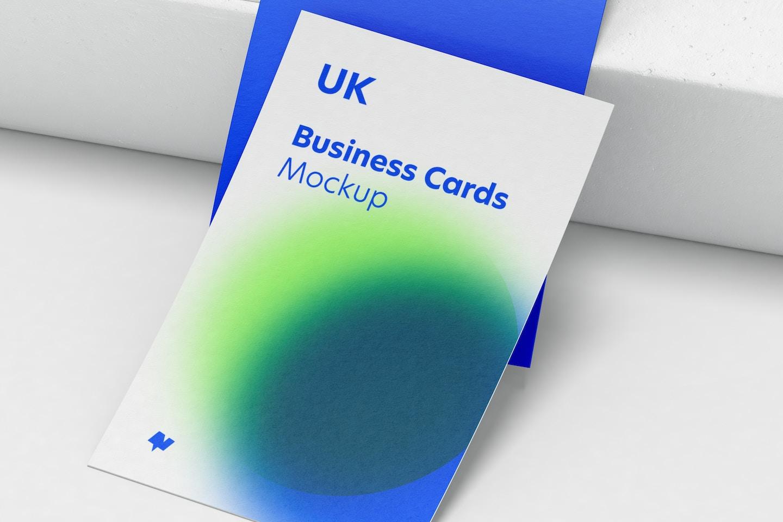 UK Portrait Business Cards Set Mockup