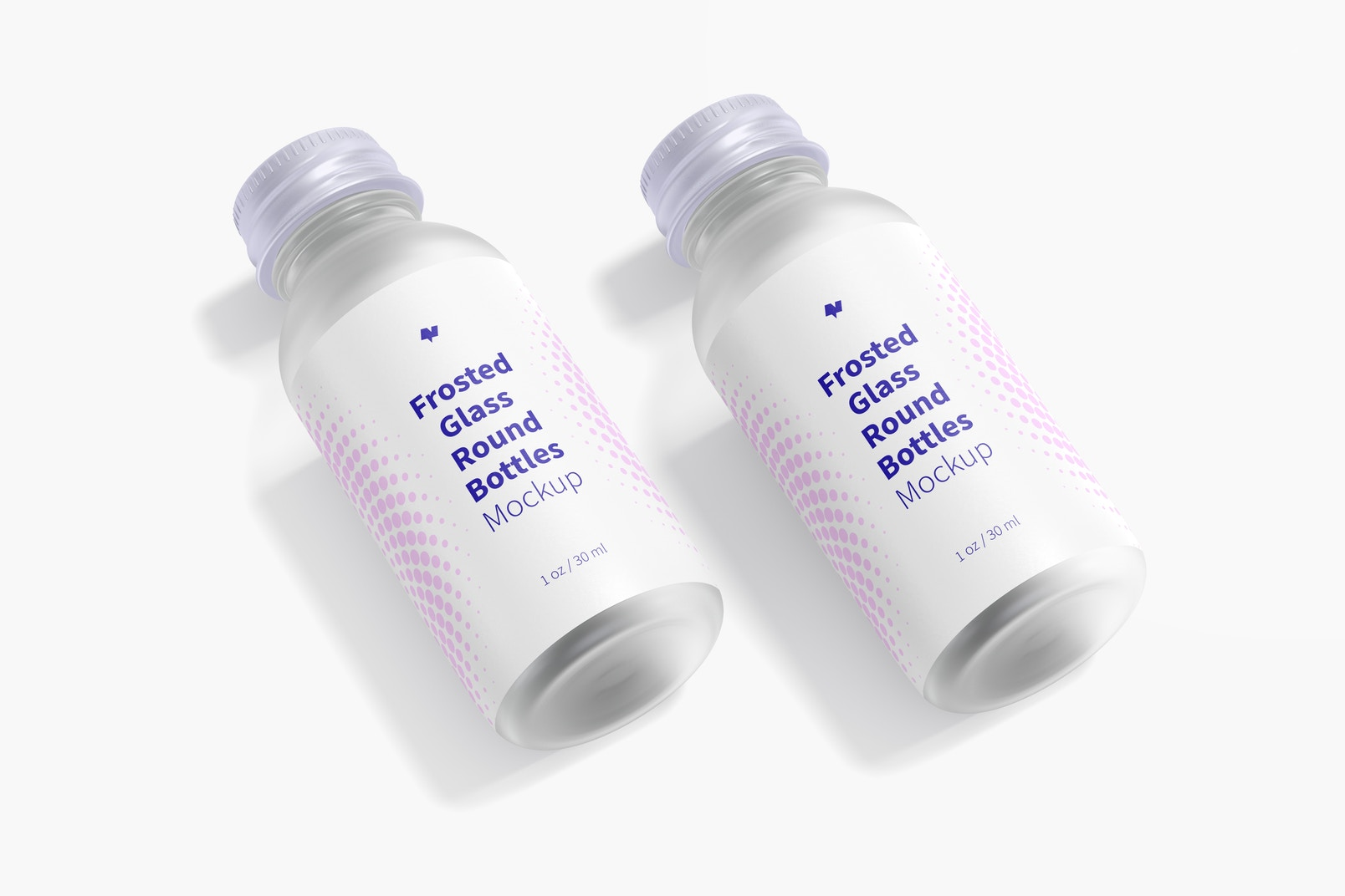 1 oz Frosted Glass Round Bottles Mockup, Dropped