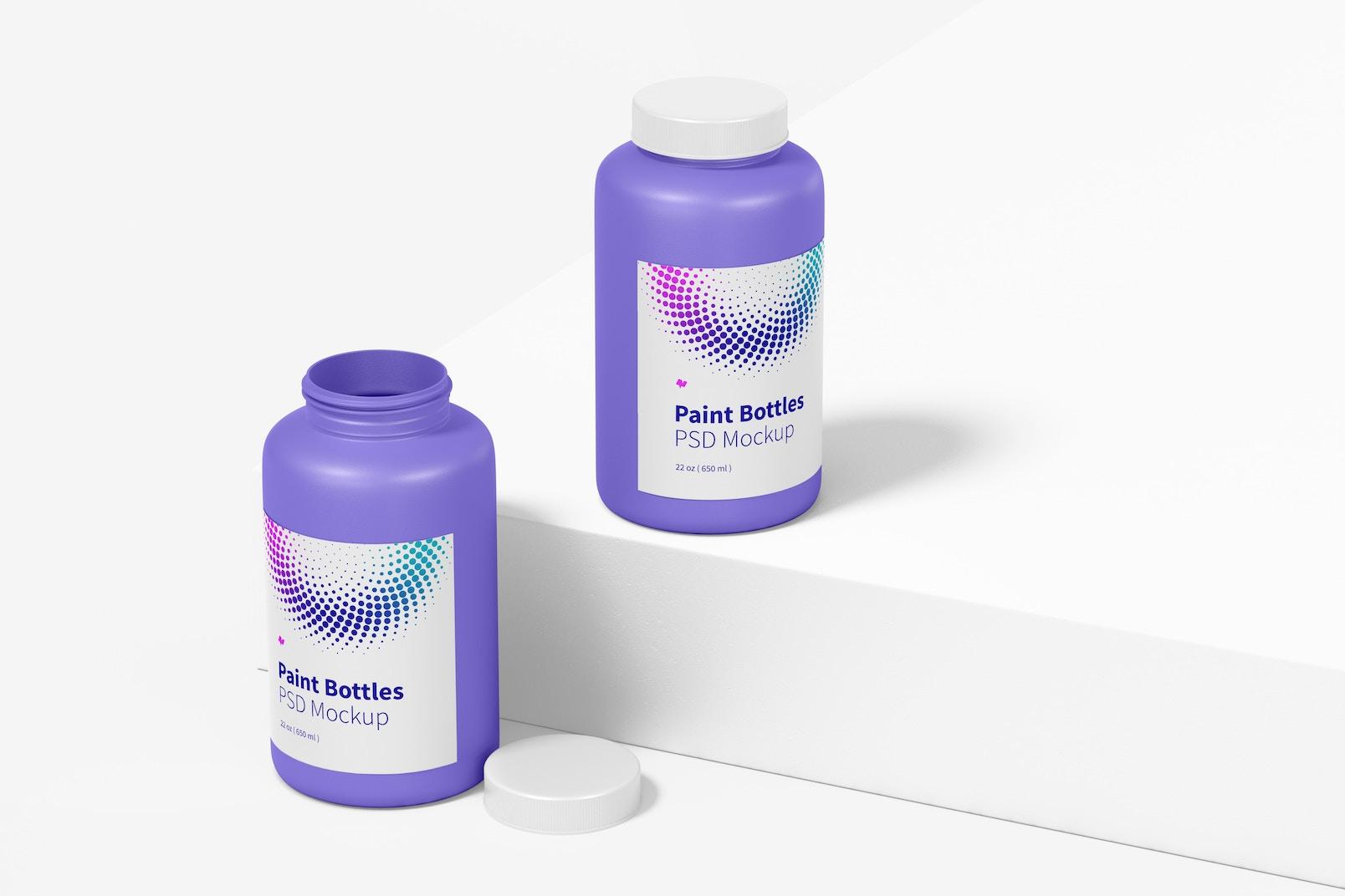 22 oz Paint Bottle Mockup, Perspective
