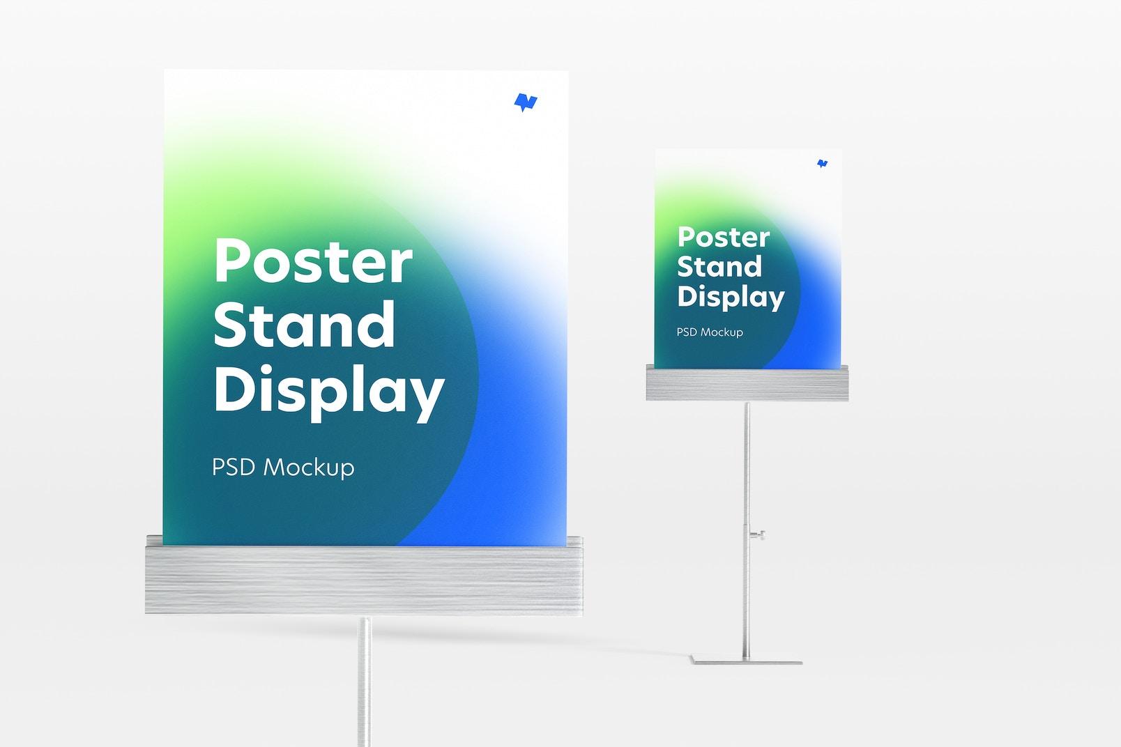 Metallic Poster Stands Display Mockup, Close-Up
