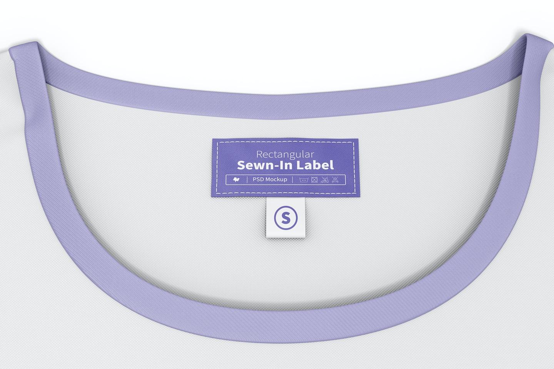 Rectangular Sewn-In Label on T-Shirt Mockup