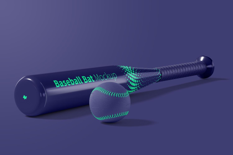 Baseball Bat and Ball Mockup