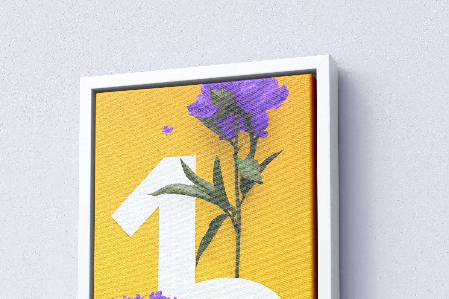 1:2 Portrait Canvas Mockup in Floater Frame, Right View