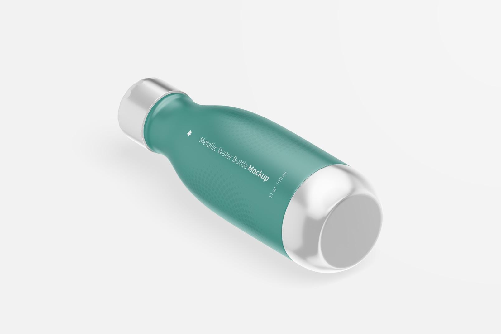 17 oz Metallic Water Bottles Mockup, Isometric Left View