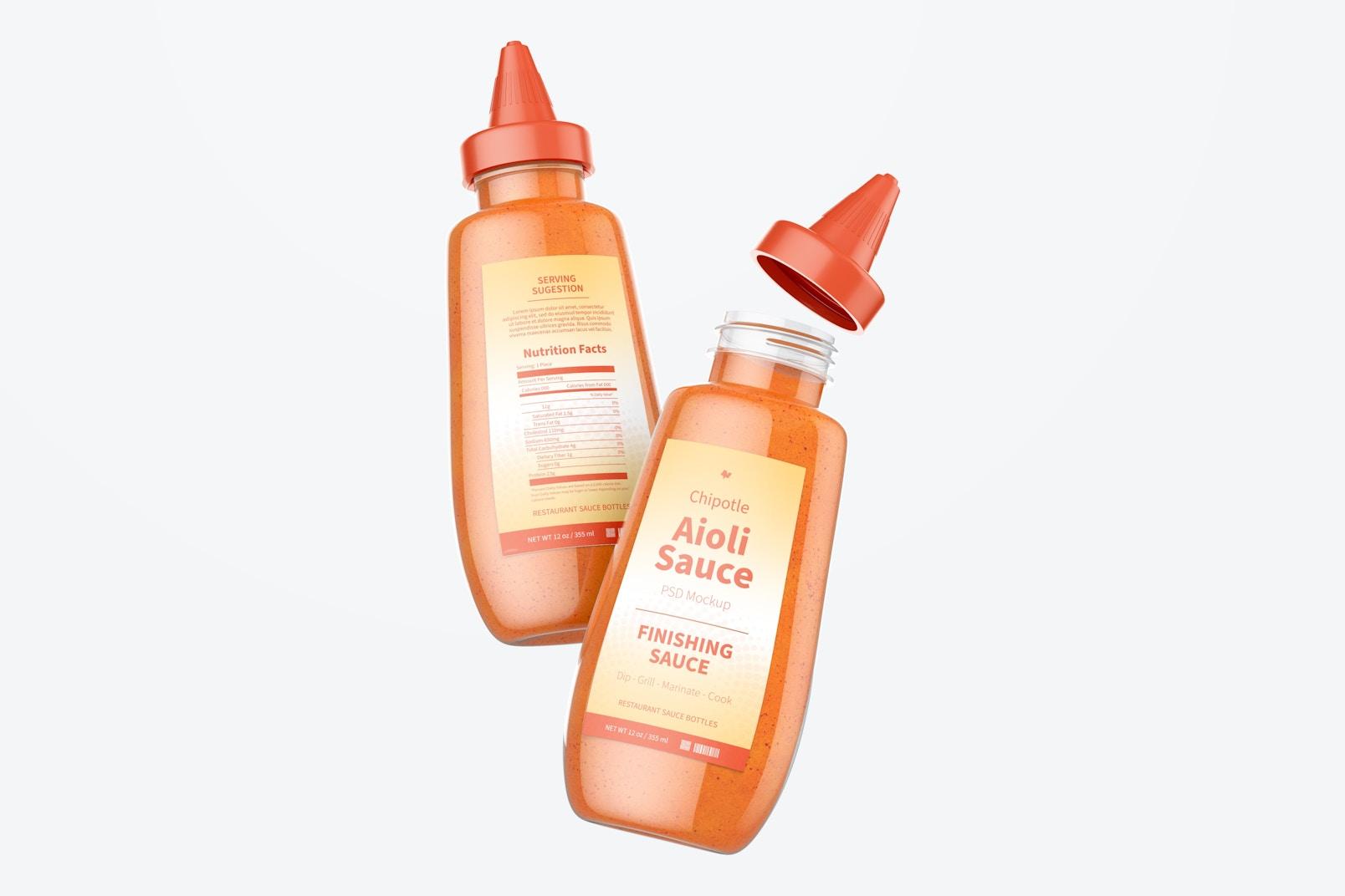 12 oz Chipotle Aioli Sauce Bottle Mockup, Floating