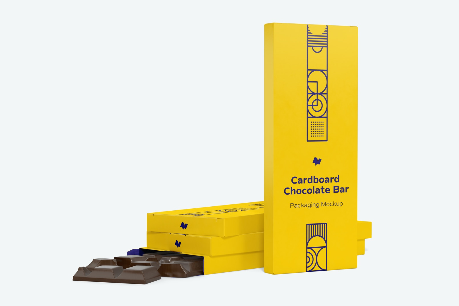 Cardboard Chocolate Bar Packaging Mockup, Right View