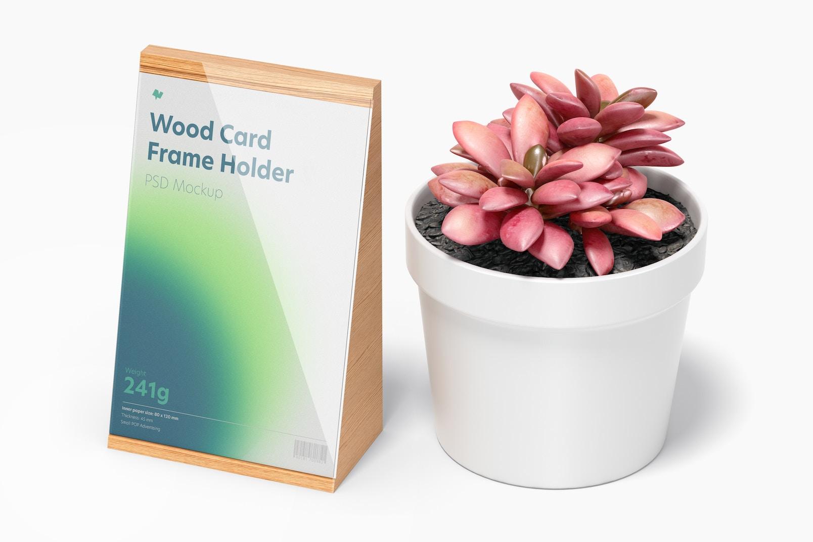 Wood Card Frame Holder Mockup