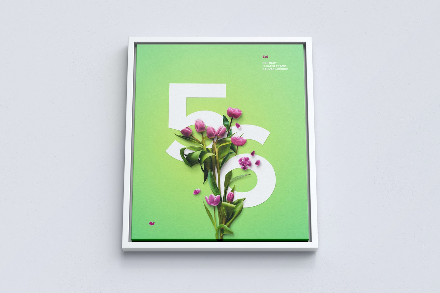 5:6 Portrait Canvas Mockup in Floater Frame, Bottom Front View